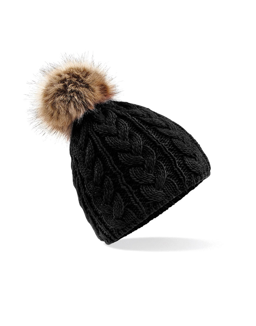 Pop-a-Pom Cable Beanie (4 colours)