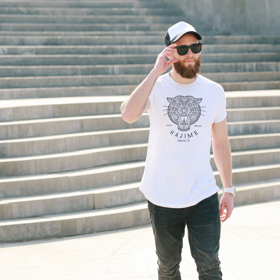 Geo Black Tiger White Tee
