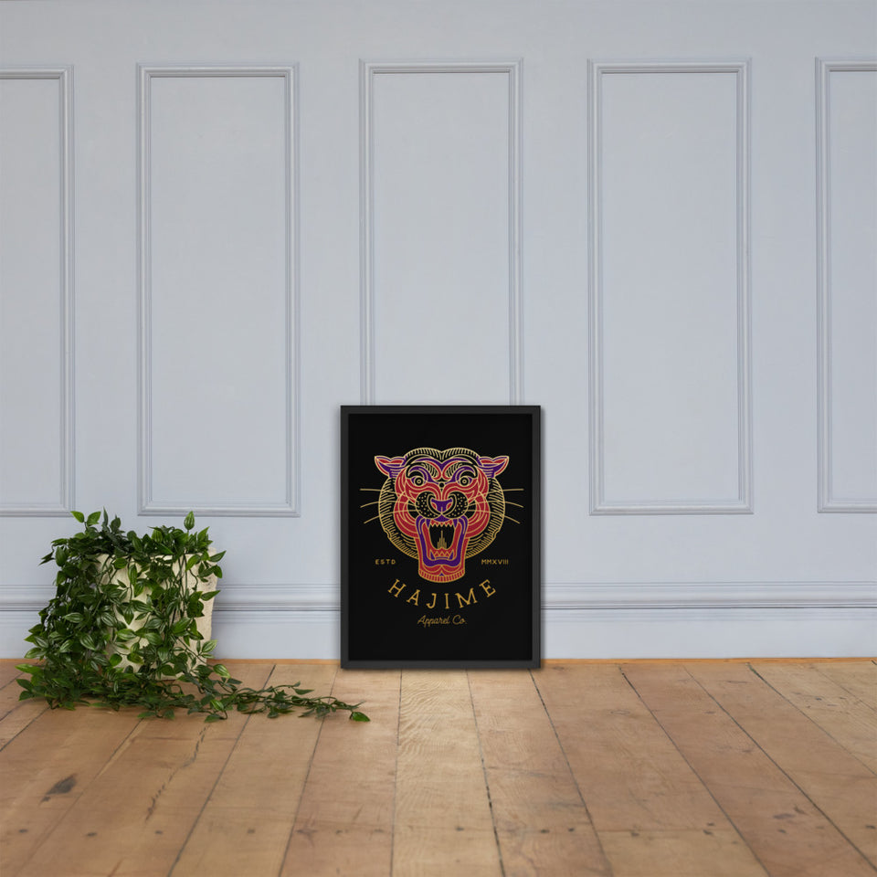Geometric Tiger framed poster