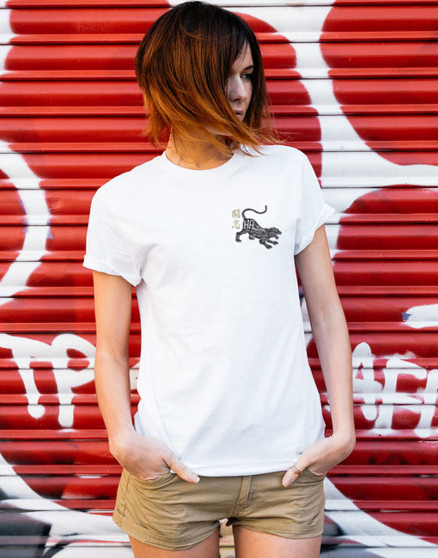 Black Tiger White Tee