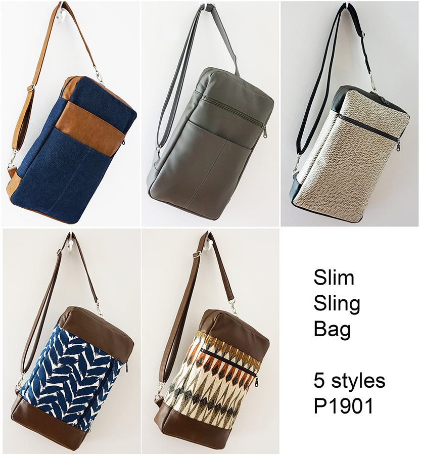 P1901 - Slim Sling Bag Pattern - PDF Download - 5 styles to choose from