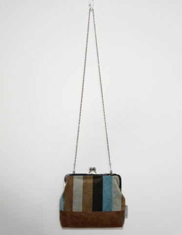 Charlie clutch (striped faux suede & distressed faux leather)