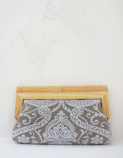 Linen Damask print fabric with  natural wood frame clutch