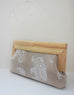 linen elephant clutch with wood frame side