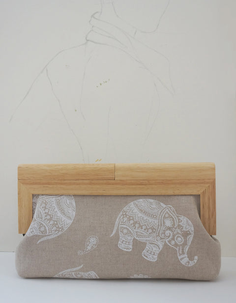 linen elephant clutch with wood frame