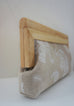 linen elephant clutch with wood frame side view