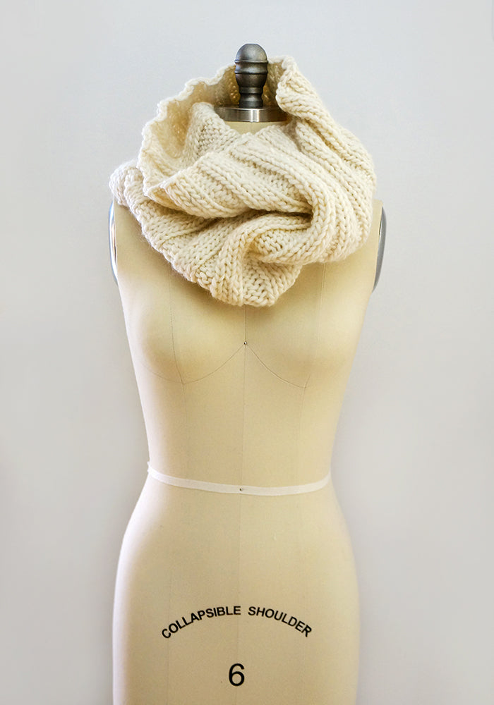 Knitted wool neck cowl