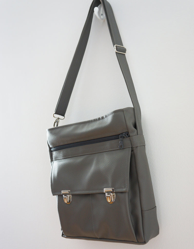 High Flyer Crossbody handbag - mercury grey faux vegan leather - front view