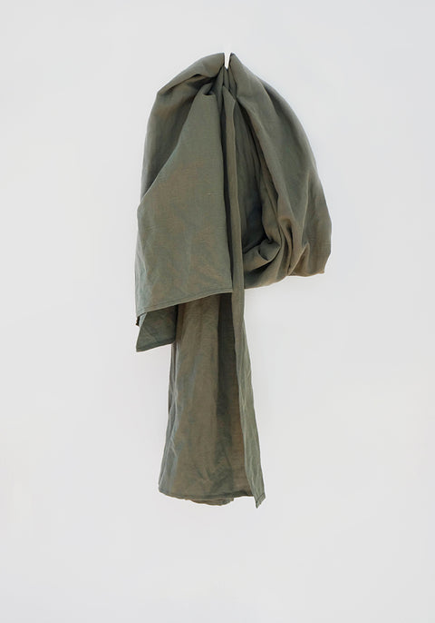 Scarf - Olive Green Khaki - Linen Cotton Solid