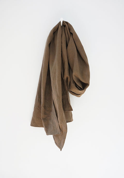 Scarf - Brown Khaki - Linen Cotton Solid