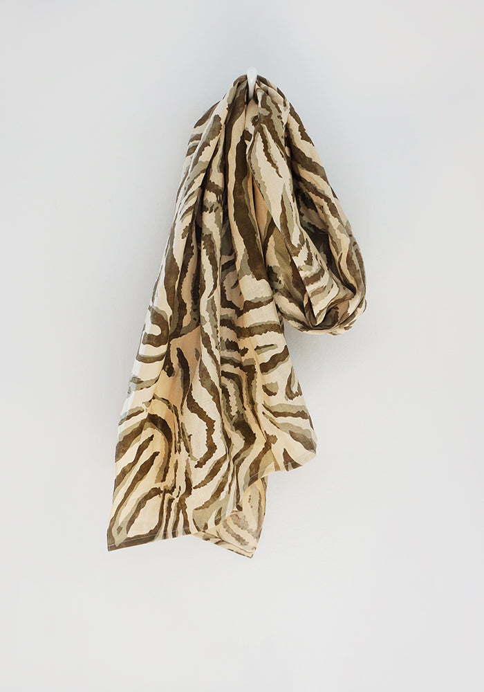 Scarf - Beige Light Brown Zebra - 100% Linen Print