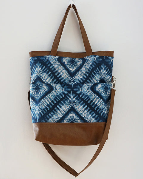Jasmine - Blue Tie-dye print / denim fold-over tote bag
