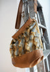 Sofia - vegan fur & leather, light brown coloured - boho style slouch bag