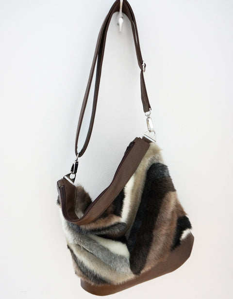Sofia - vegan fur & leather, multi-coloured chevron - boho style slouch bag