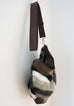 Sofia - vegan fur & leather, multi-coloured chevron - boho style slouch bag - SIDE view