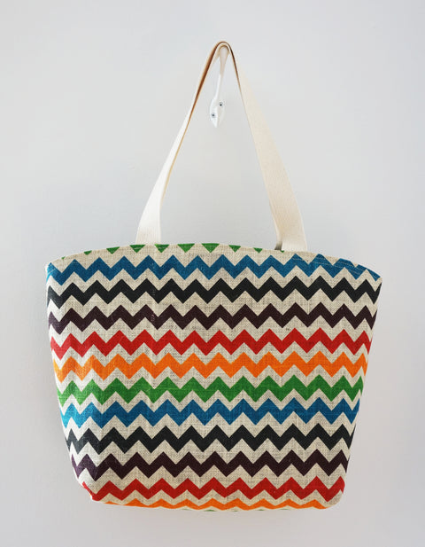 Market Tote - multi-coloured chevron print in jute