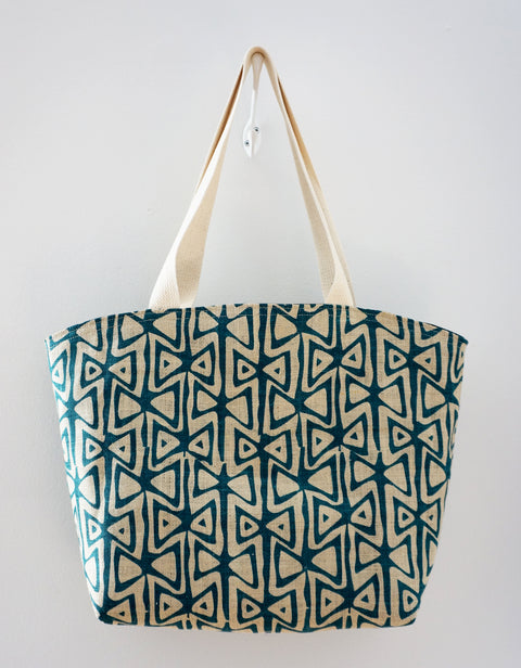 Market Tote - Blue Teal Graphic Print in Jute