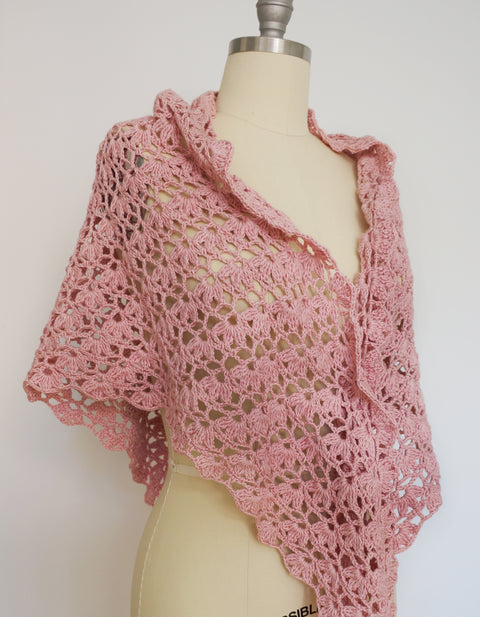 Shawl - Lace Crochet, Cotton/Cashmere (Pink)