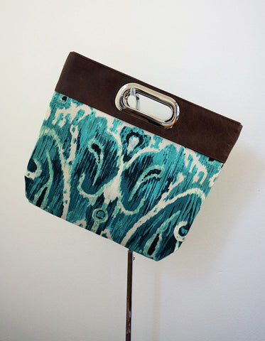 Harley (clutch, cotton, turquoise print)
