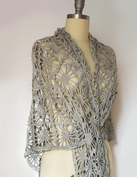 Shawl - Lace Crochet, Cotton/Viscose (Silver white)