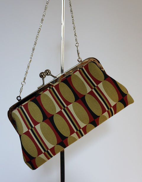 Emilia Clutch Red Retro Print