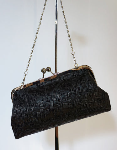 Emilia clutch (embossed damask, faux leather, black)