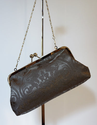 Emilia clutch (embossed damask, faux leather, dark pewter)