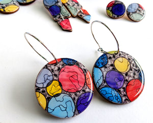 Large Disc Earrings // 'Rainbow Bubbles'