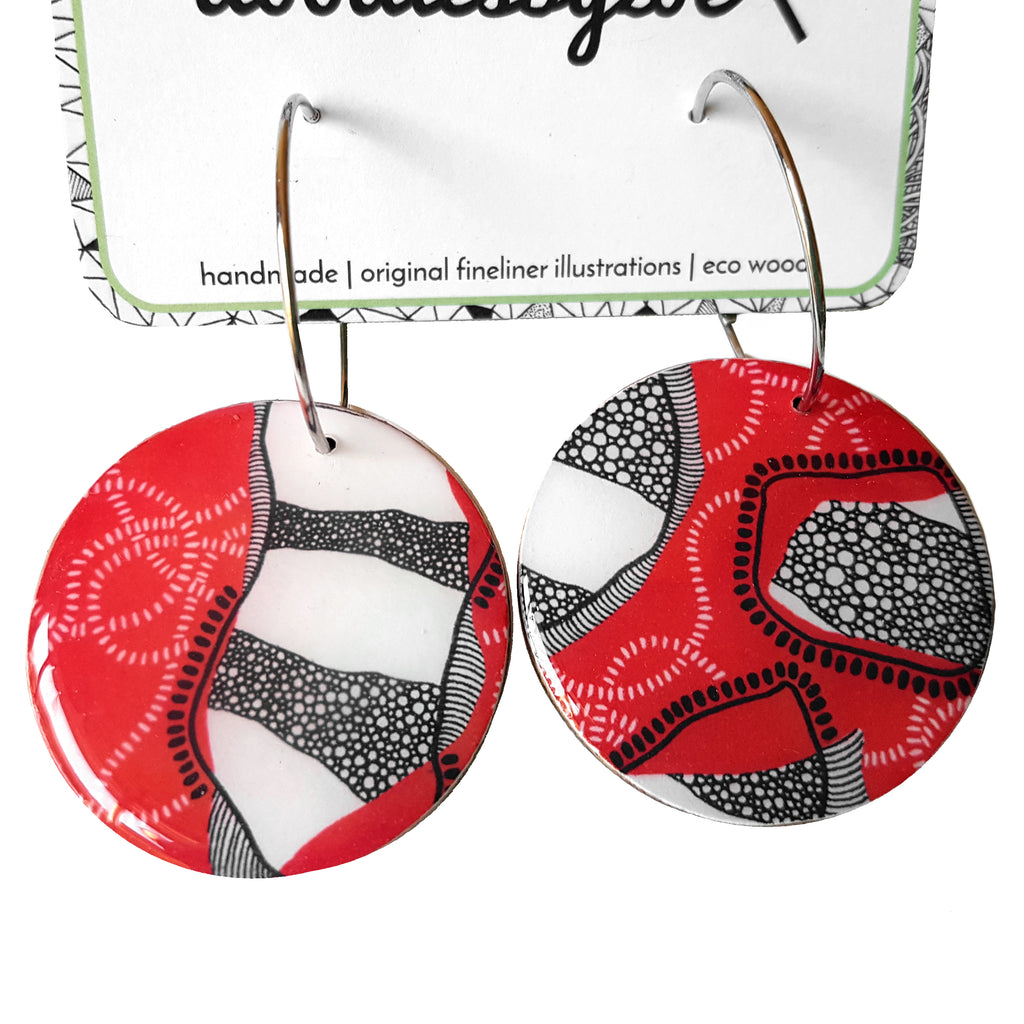 Large Disc Earrings // 'Red Earth'