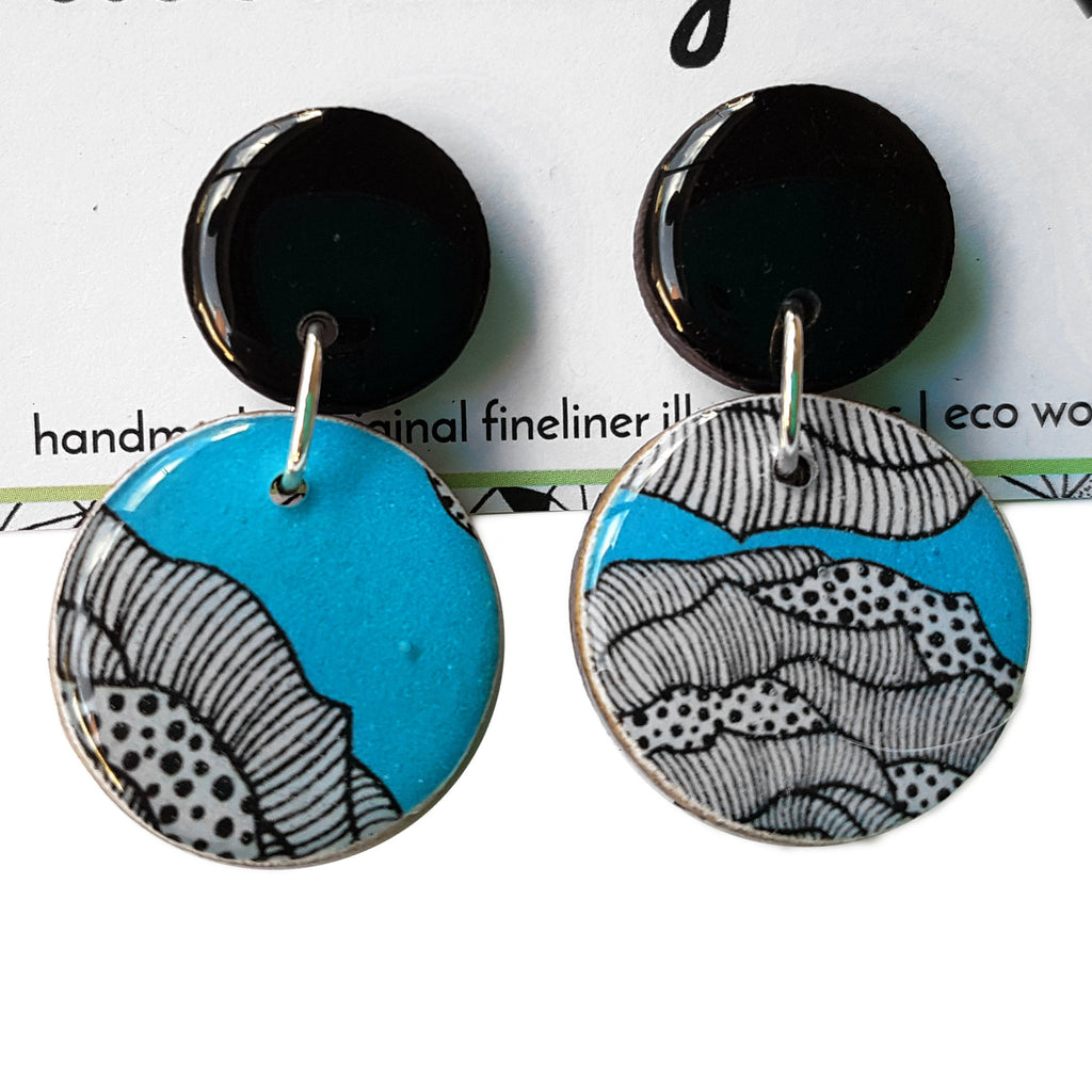 double circle drop earrings in the pattern aqua rose