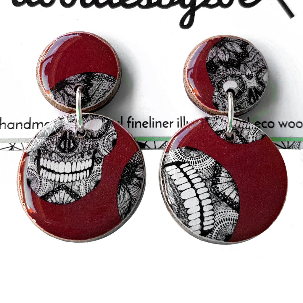 double circle drop earrings in the pattern burgundy skulls