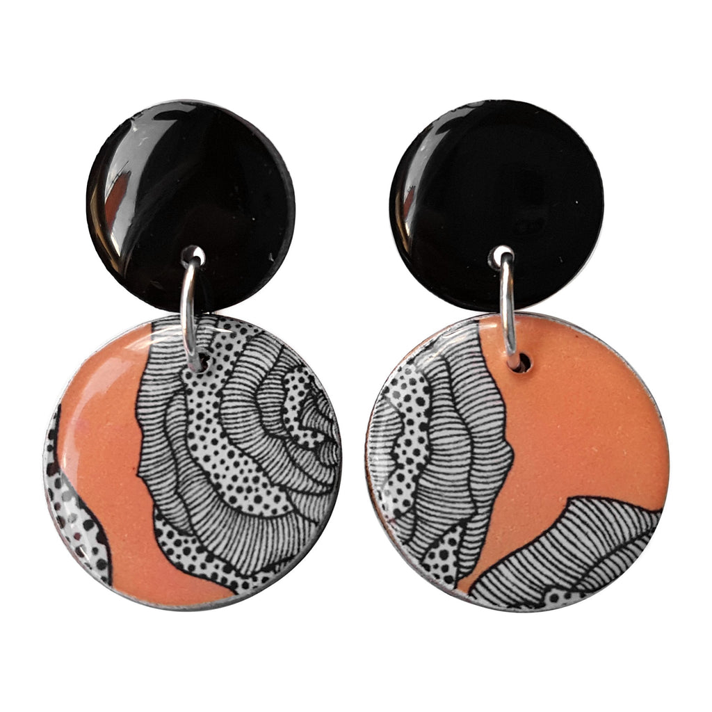 double circle drop earrings in the pattern peach rose