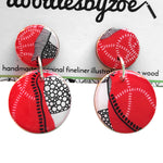 double circle drop earrings in the pattern red earth