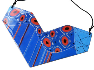large geo heart necklace in the pattern tall poppy blue
