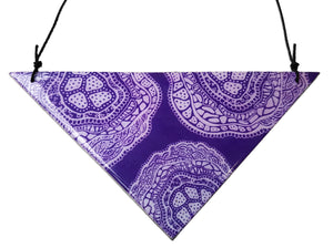 large triangle pendant necklace in the pattern purple haze