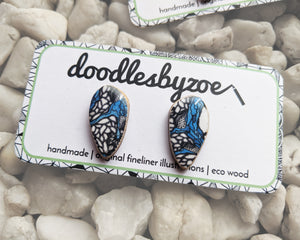 Pebble Studs // 'Blue Splatter'