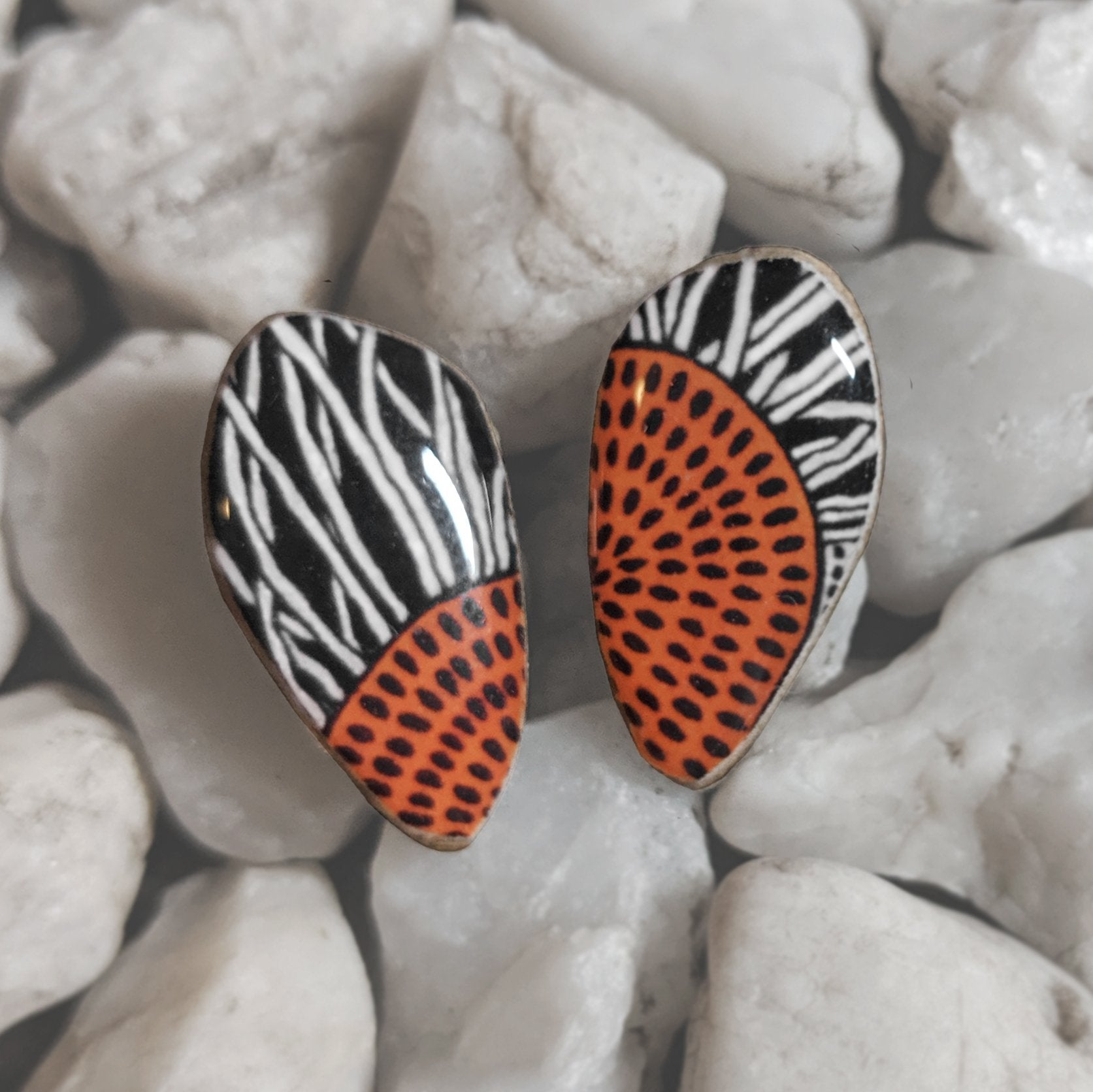 Pebble Studs // 'Orange Squiggles'