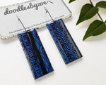 Rectangle dangle earrings in the pattern blue waves
