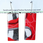 Rectangle dangle earrings in the pattern red earth