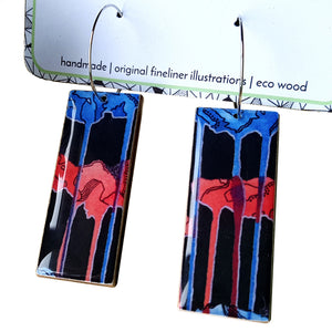 Rectangle dangle earrings in the pattern tall poppy black
