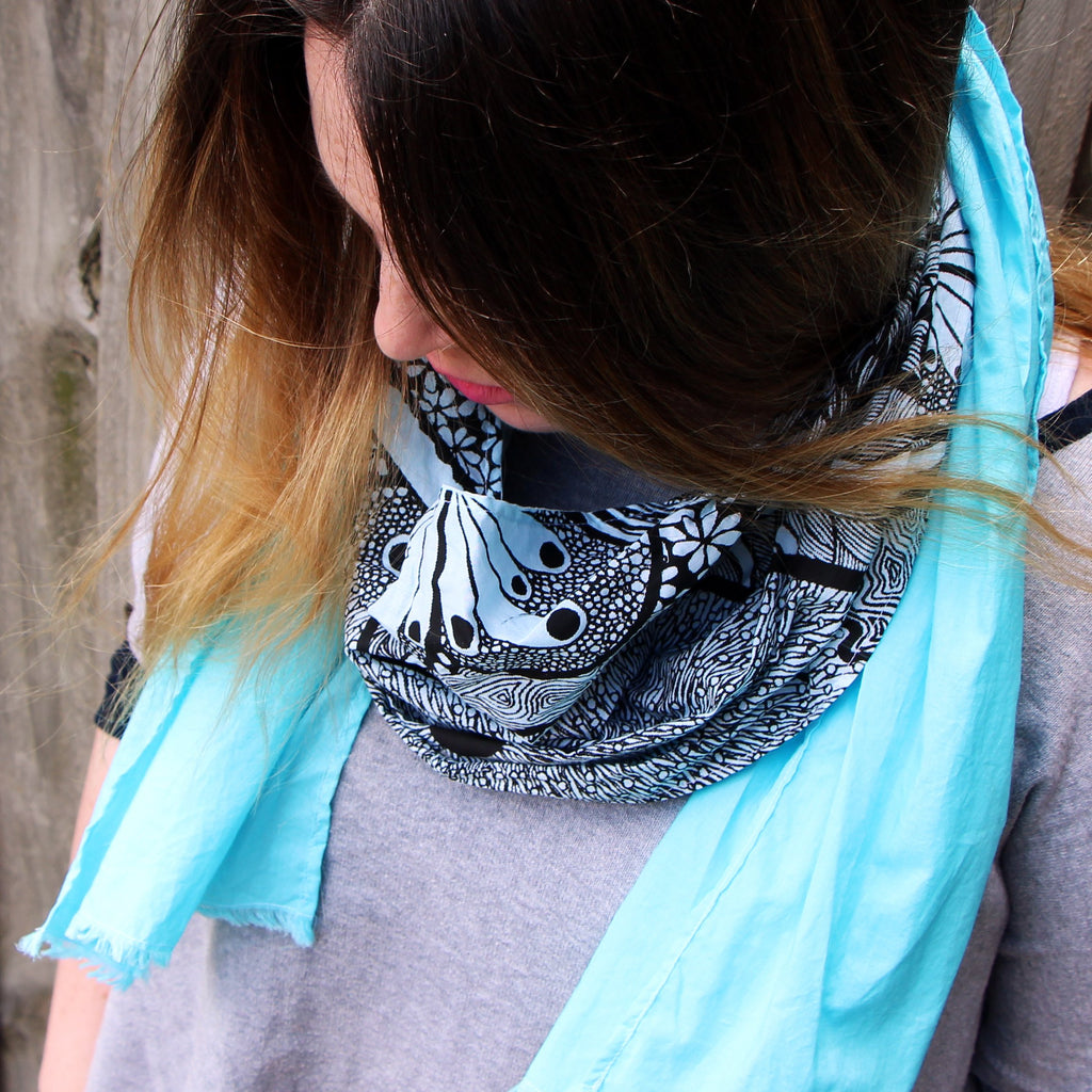 cotton scarf in botanical pattern