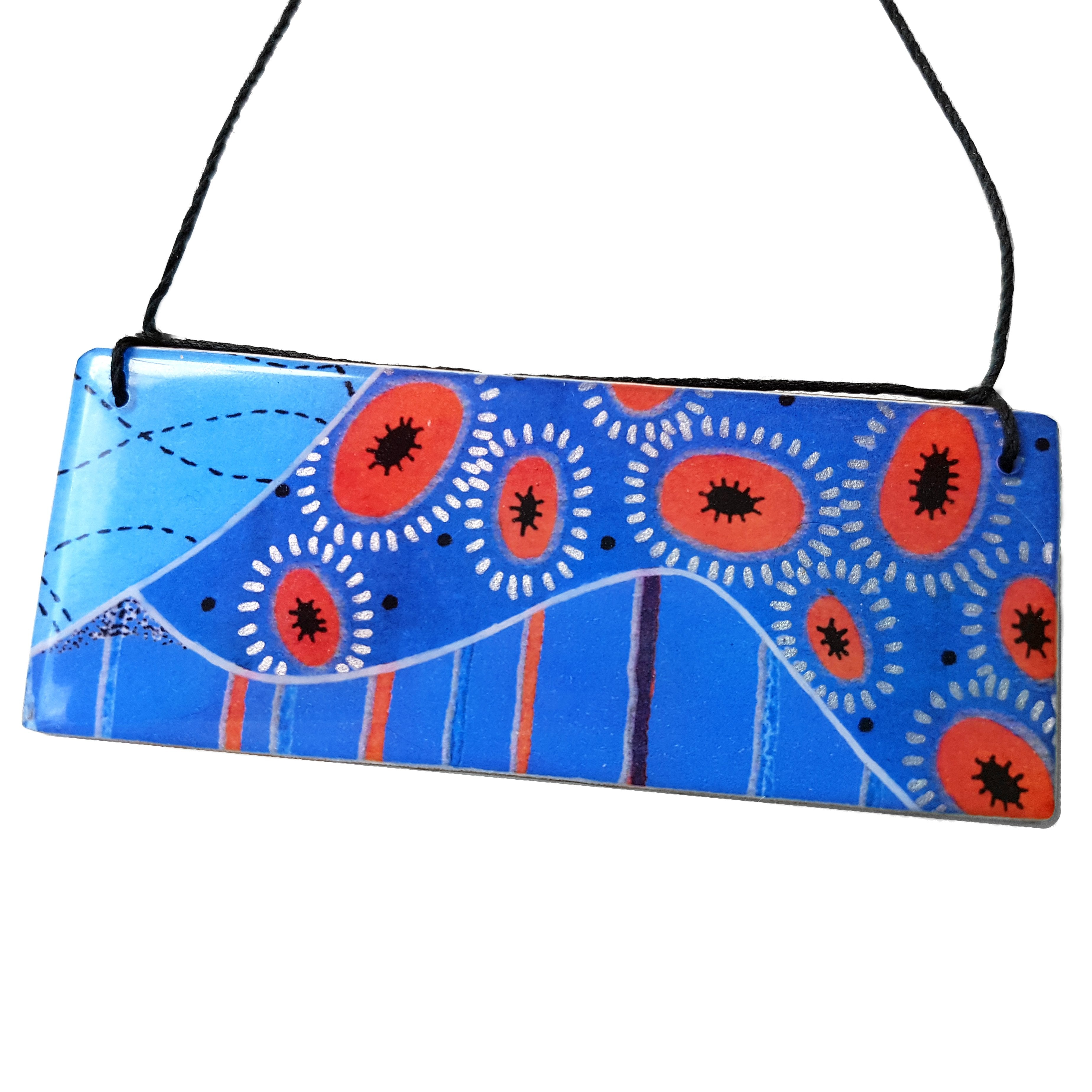 bar pendant necklace in the pattern tall poppy blue