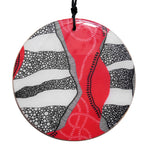 disc pendant necklace in the pattern red earth