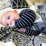 baby swaddle in botanical pattern