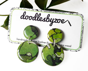 double circle drop earrings in the pattern greenery