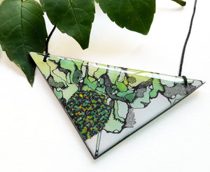 triangle pendant necklace in the pattern greenery