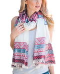 Red Mix Tribal Print Frayed Long Scarf