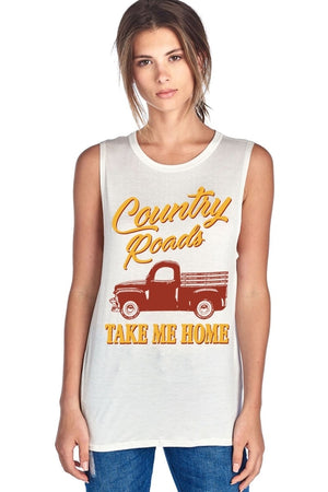 Country Roads Take Me Home Muscle Tank
