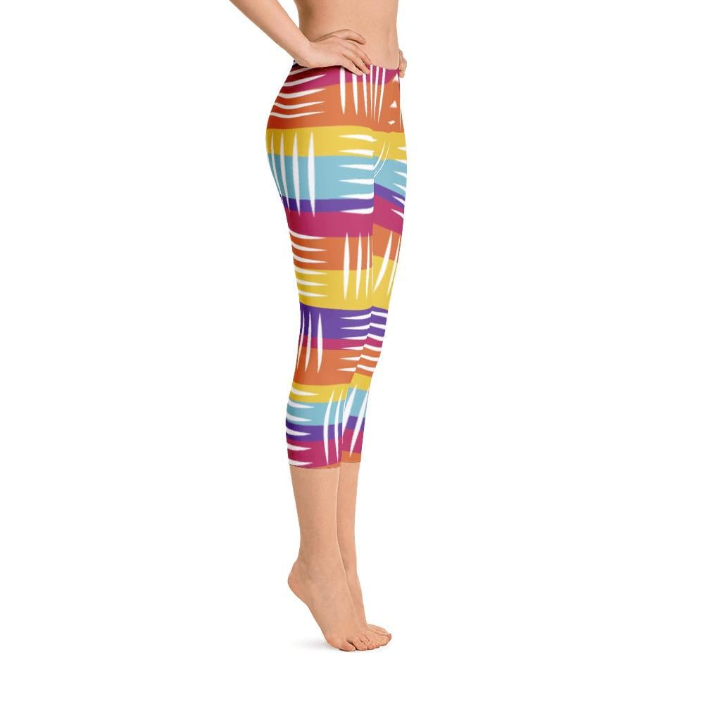 Colorful Lines Capri Leggings