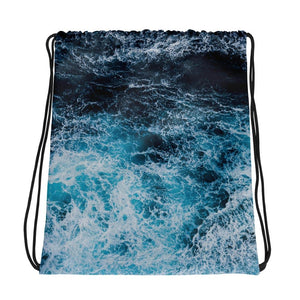 Blue Waves Drawstring Bag